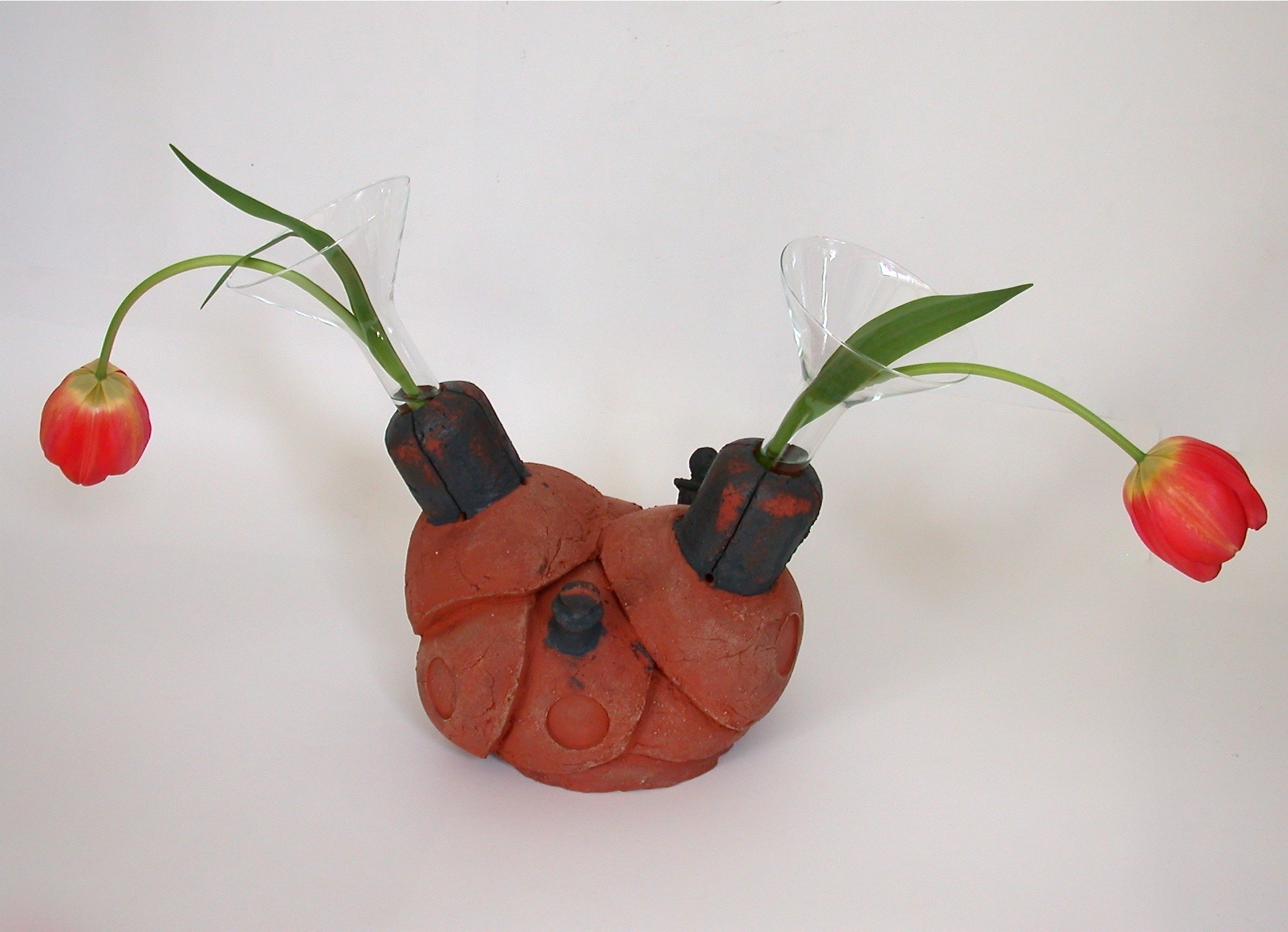 Flowers for Mr. B, ceramic and glass, 41 X 50 X 24 cm, 2004