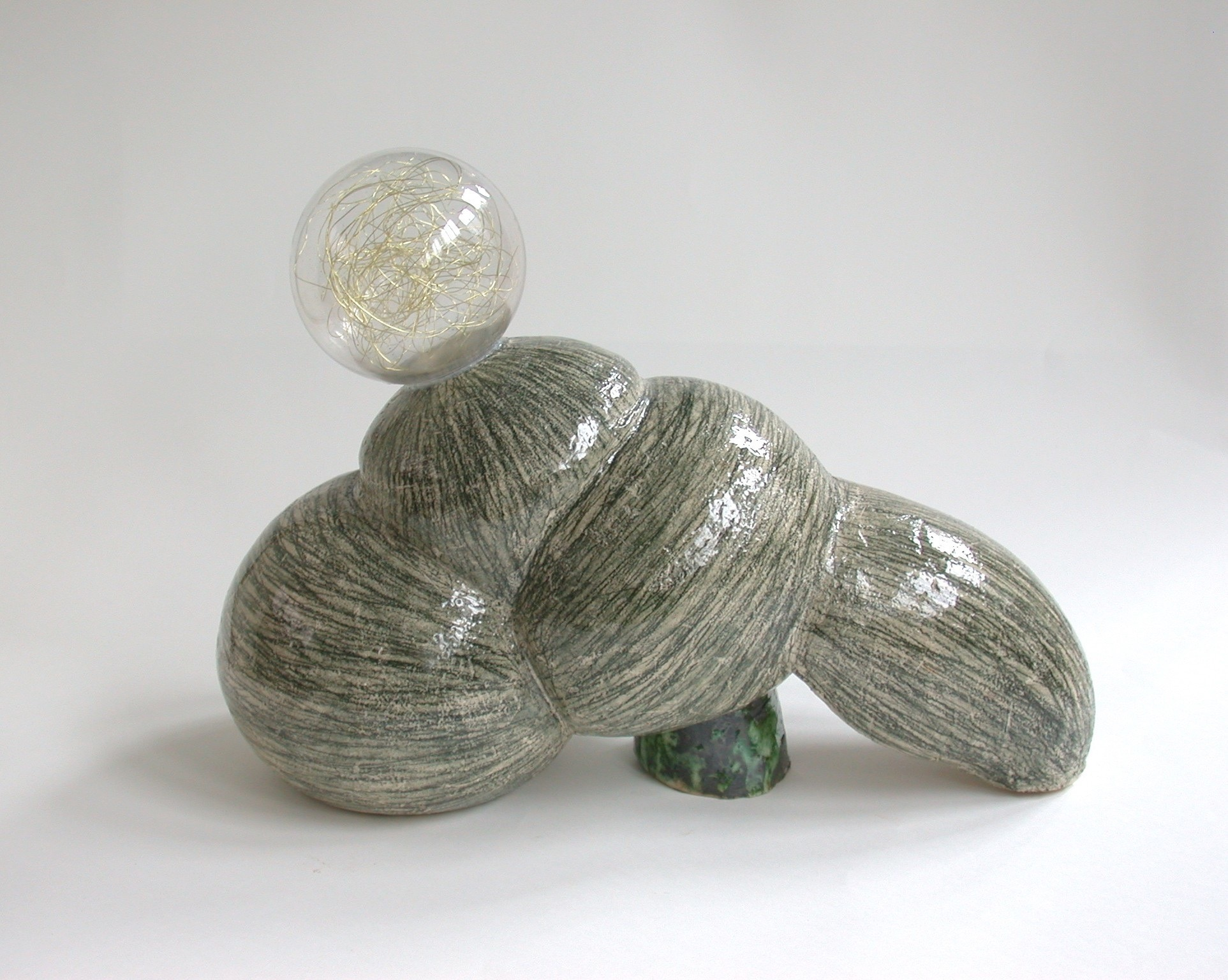 Transformer, ceramic, glass, copper wire, glaze, 29 X 39 X 18 cm, 2004