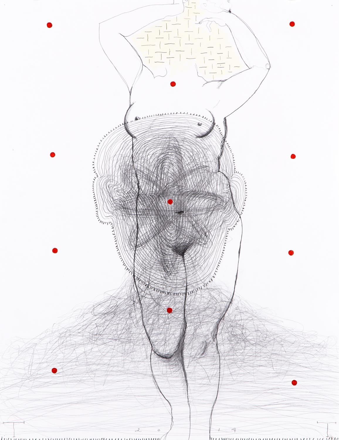Contrapposto I, mixed media on paper, 66 X 50 cm, 2014