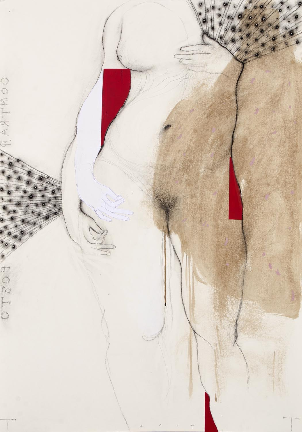 'Contrapposto' series, mixed media on paper, 100 X 70 cm, 2014 copy
