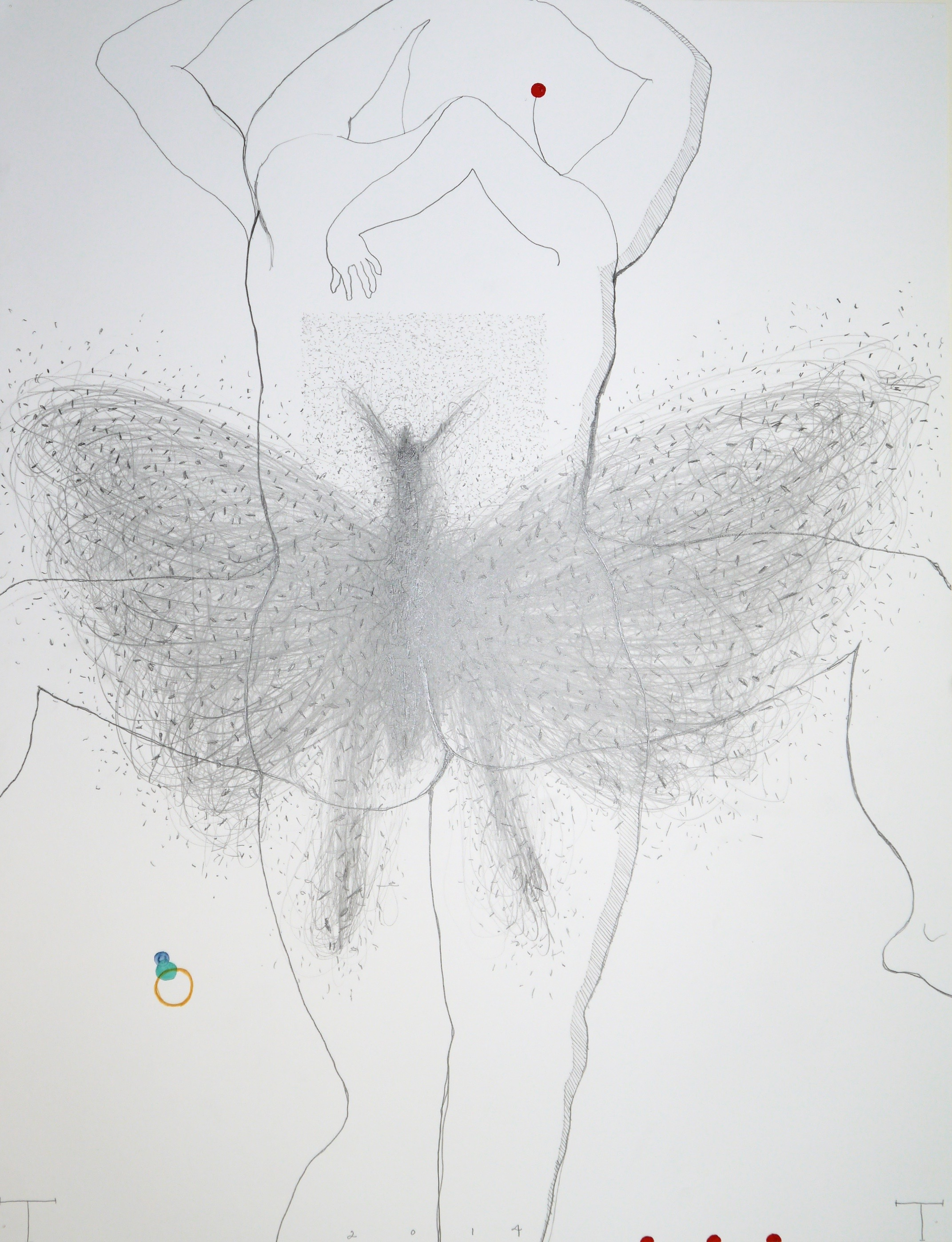 Contrapposto II, mixed media on paper, 66 X 50 cm, 2014