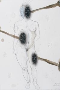 'Contrapposto' study, mixed media on paper, 33 X 25 cm, 2015