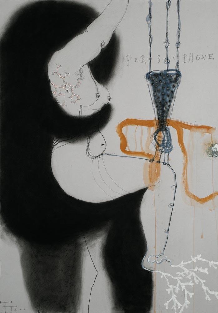 'Persephone' series, mixed media on paper, 100 X 70 cm, 2011