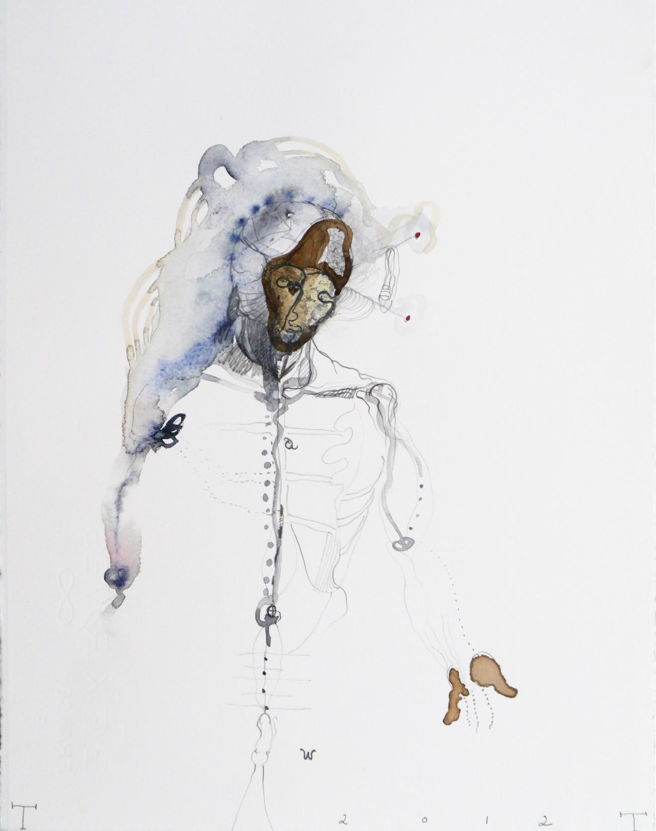 Vesalius study, mixed media on paper, 33 X 25 cm, 2012