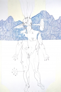 Vesalius Landscape, mixed media on paper, 65 X 50 cm, 2013