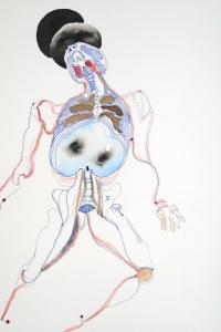 Vesalius study, mixed media on paper, 33 X 25 cm , 2014