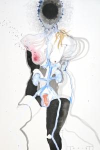 Vesalius study, mixed media on paper, 33 X 25 cm, 2013