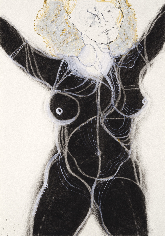 Danae, gem. techniek op papier, 100 X 70 cm, 2013
