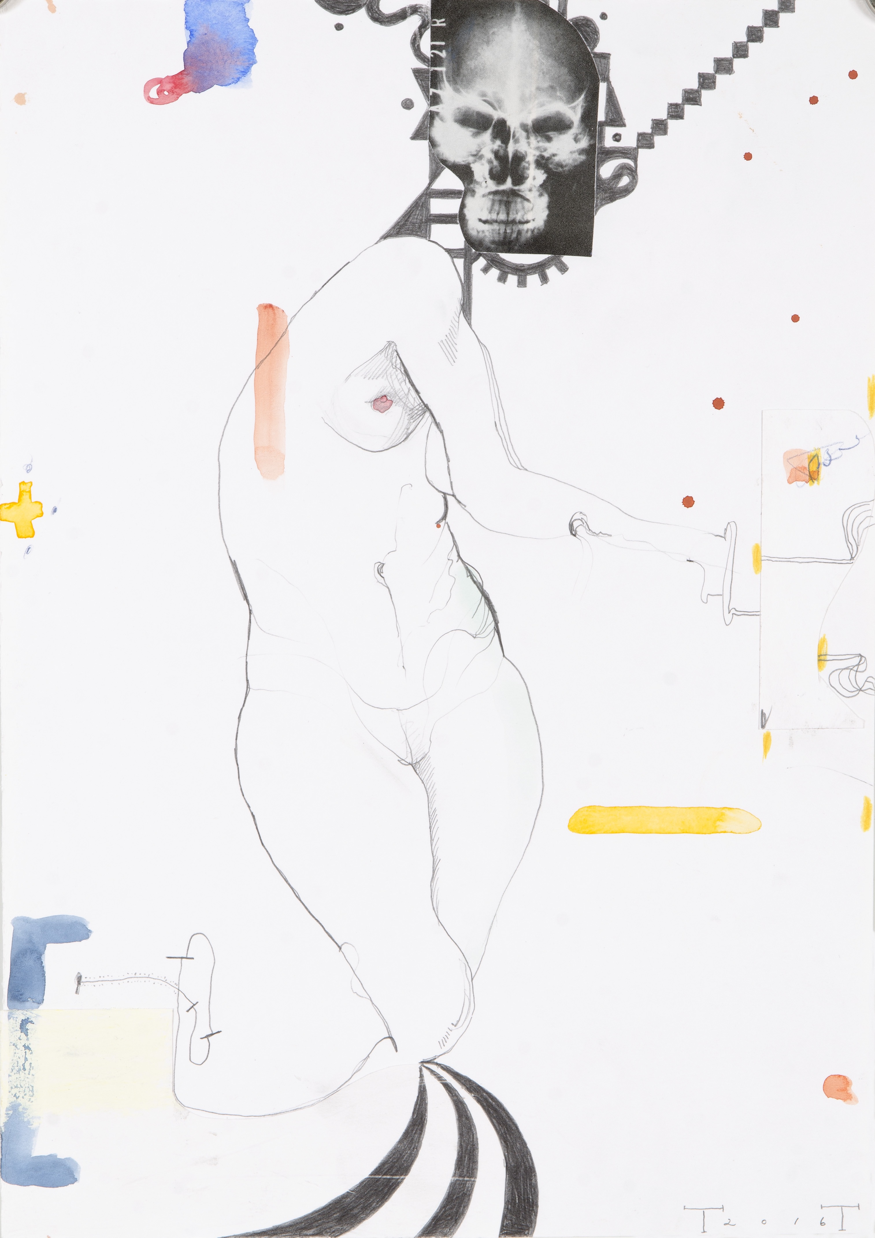 Death and the Maiden, mixed media on paper, 42 X 29.5 cm, 2016