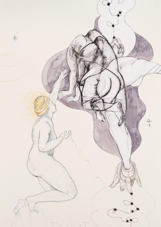 Dream Weaver, mixed media on paper, 100 X 70 cm, 2018