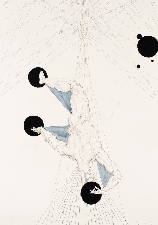 Icarus, mixed media on paper, 100 X 70 cm, 2018 (collection Museum de Buitenplaats)