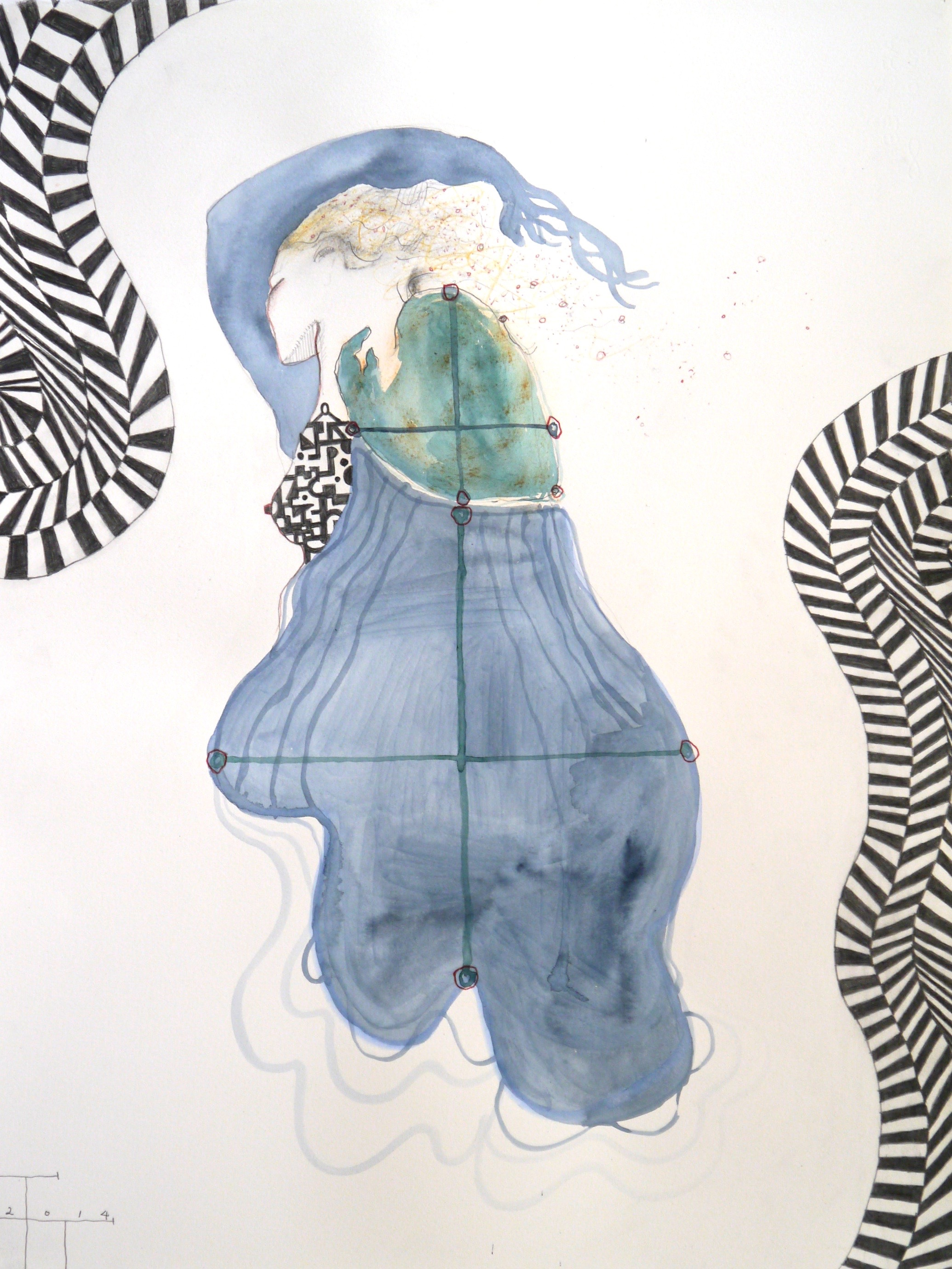 untitled, mixed media on paper, 66 X 50 cm, 2014