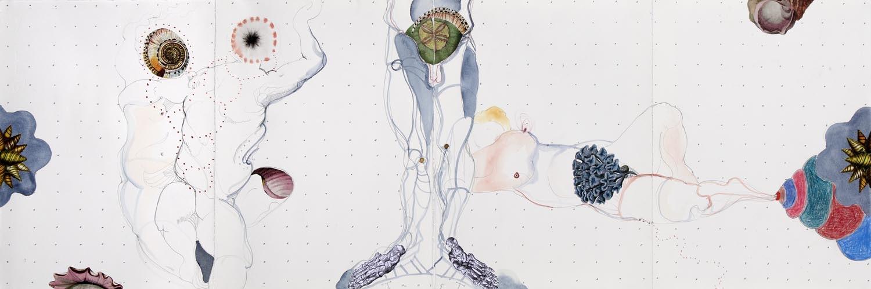 Pschopomp, mixed media on paper, 38 X 114 cm, 2015