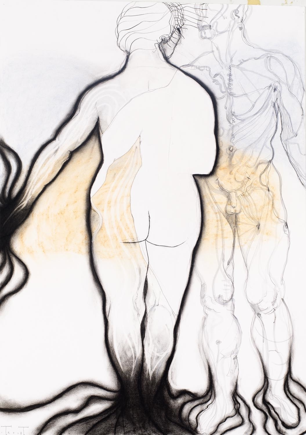 The Muse, mixed media on paper, 100 X 70 cm, 2013