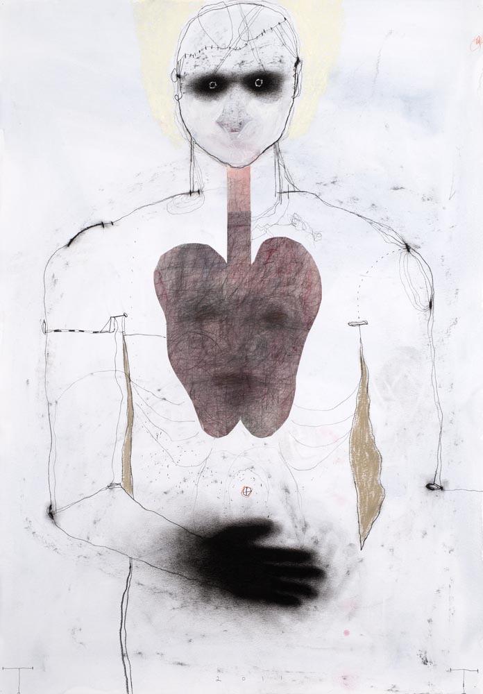 Ecce Homo, mixed media on paper, 100 X 70 cm 2011