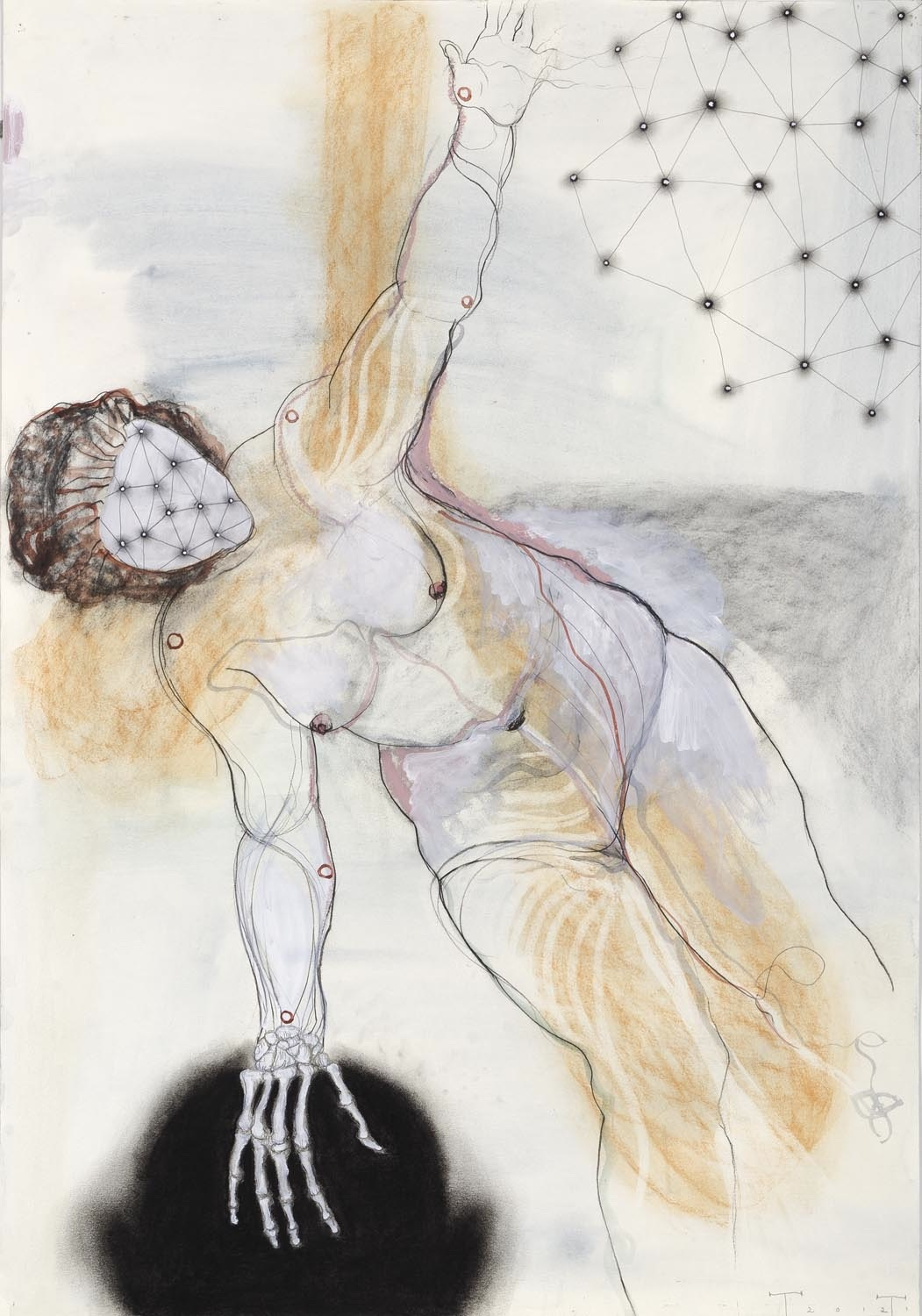 Death and the Maiden, mixed media on paper, 100 X 70 cm, 2012 (collection Joost Hesseling & Madeleine Klis)