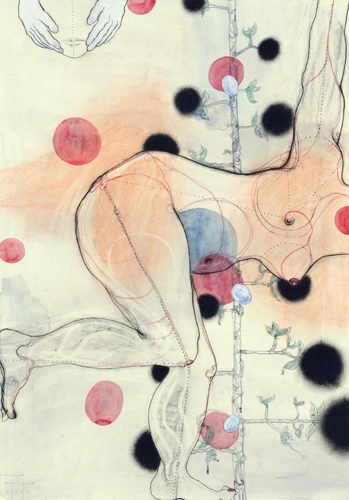 Eva, mixed media on paper, 100 X 70 cm, 2012