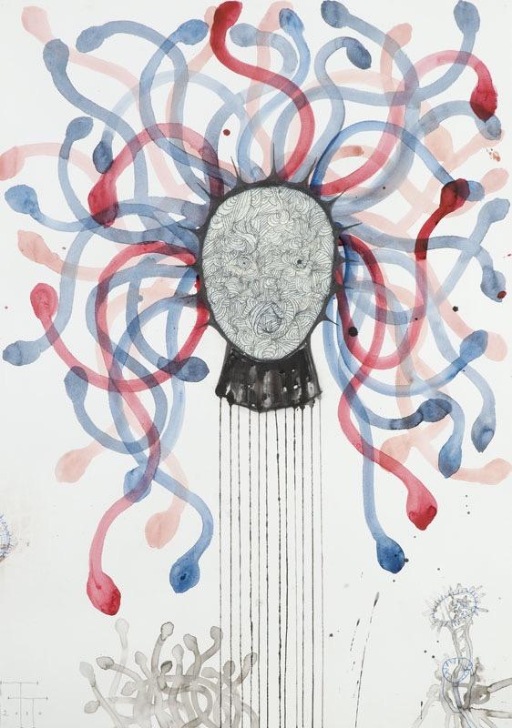 Medusa II, mixed media on paper, 100 X 70 cm, 2010