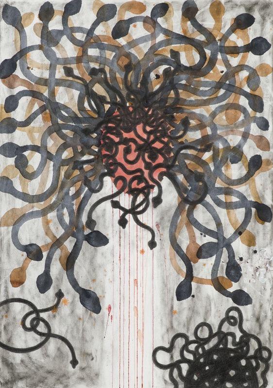 Medusa III, mixed media on paper, 100 X 70 cm, 2010