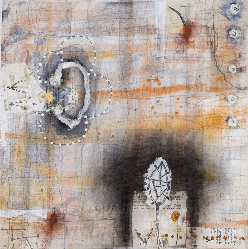 'Natural History' series, mixed media on paper on canvas, 30 X 30 cm, 2009
