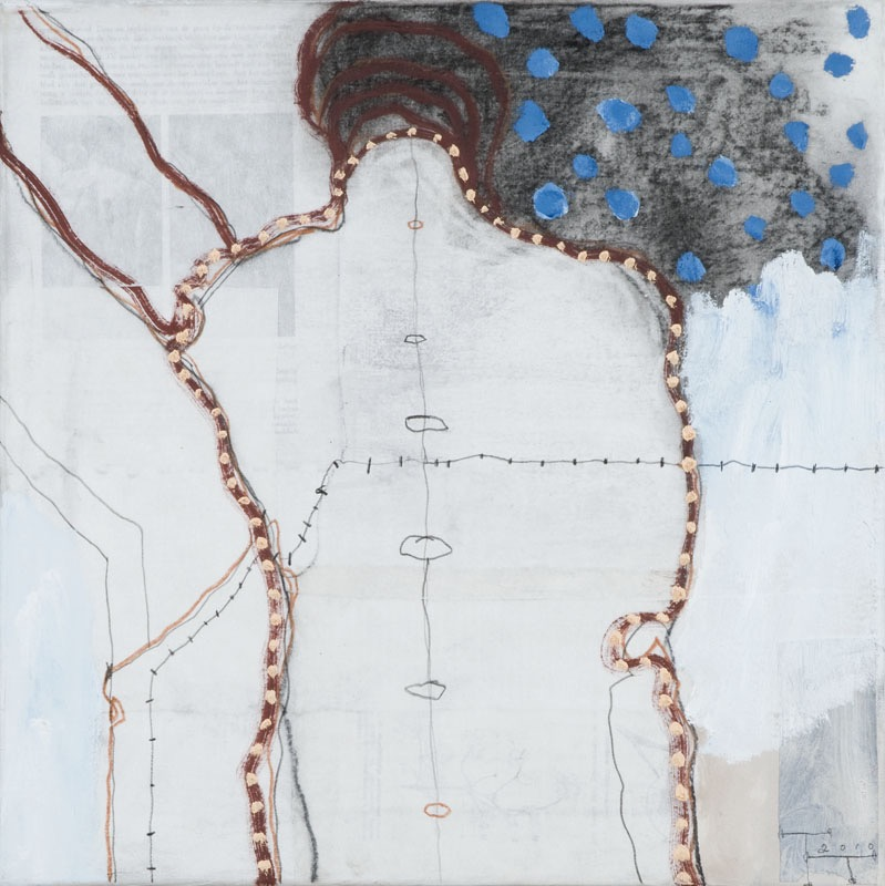 Departure, mixed media on paper on canvas, 40 X 40 cm, 2010