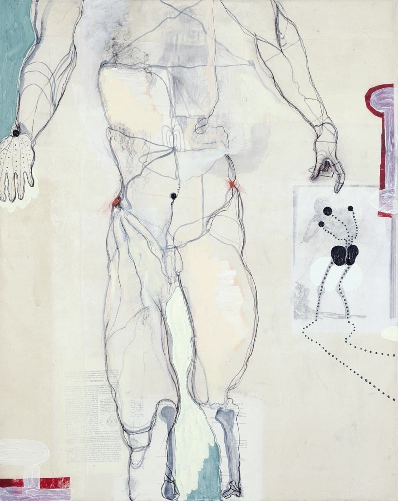 Membrane (after Vesalius), mixed media on paper on canvas, 100 X 80 cm, 2012