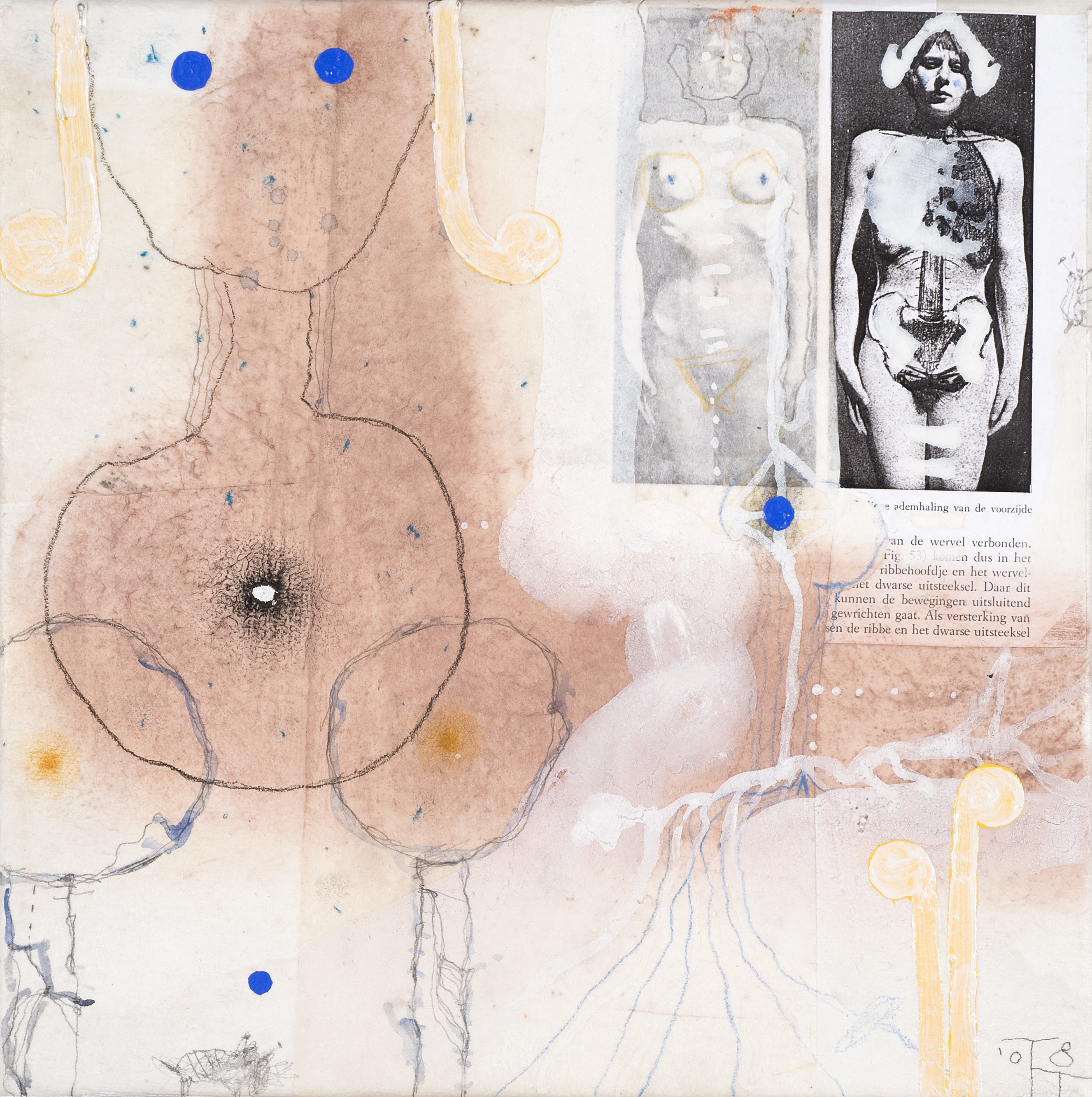 'Anatomy Lesson' series, mixed media on paper on canvas, 30 X 30 cm, 2008