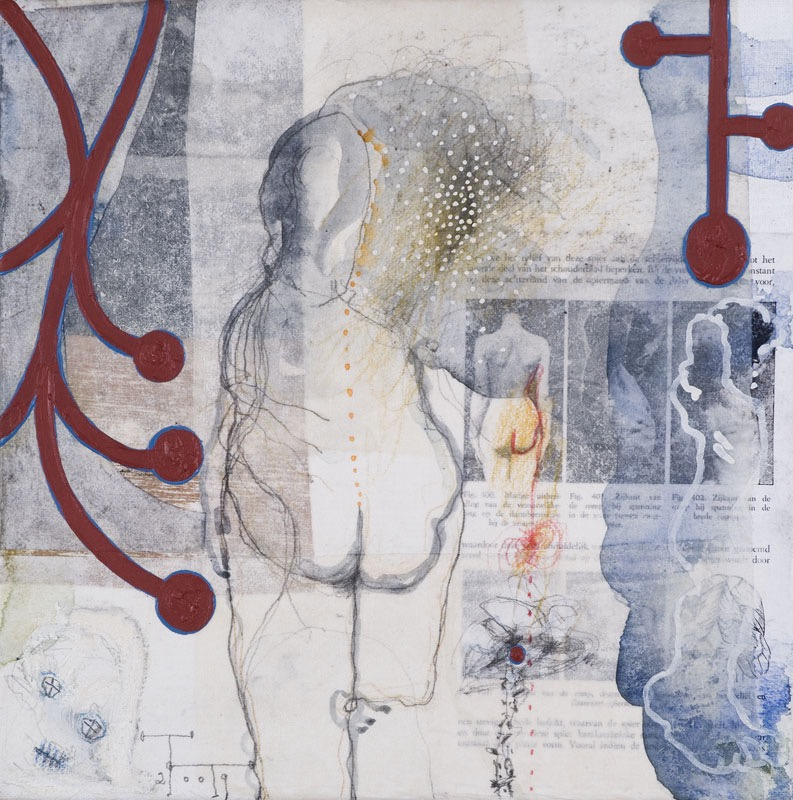 'Anatomy Lesson' series, mixed media on paper on canvas, 30 X 30 cm, 2009