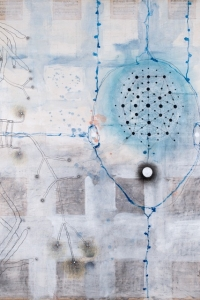 Equation, mixed media on paper on canvas, 140 X 120 cm, 2008