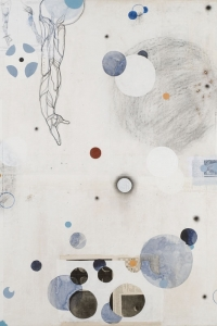 Orbits, mixed media on paper on canvas, 120 X 140 cm, 2010